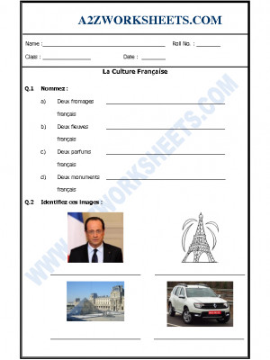 French Worksheet - La Culture Française