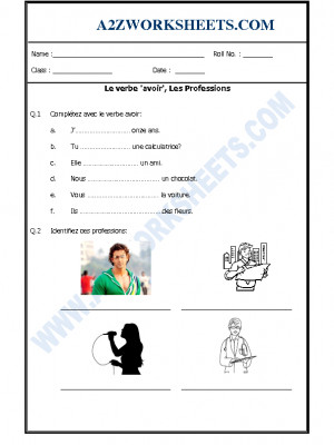 French Worksheet - Le verbe 'avoir', Les Professions