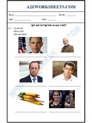 French Worksheet - Qui est-ce Qu'est-ce que c'est