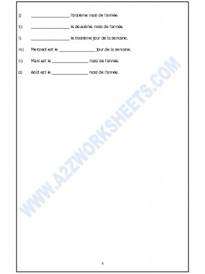French Worksheet - Les Nombres Cardinaux