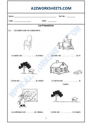 French Worksheet - Les Prépositions
