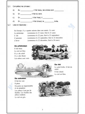 French Worksheet - Les Saisons