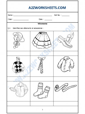 French Worksheet - Vêtements