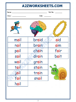 English Phonics Sounds - 'ai' sound words