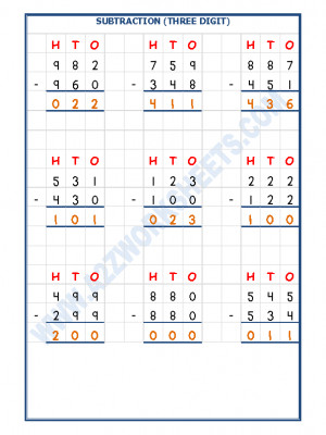 Subtraction Worksheet - 3 Digit Subtraction
