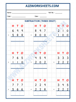 Subtraction Worksheet - 3 Digit Subtraction-03