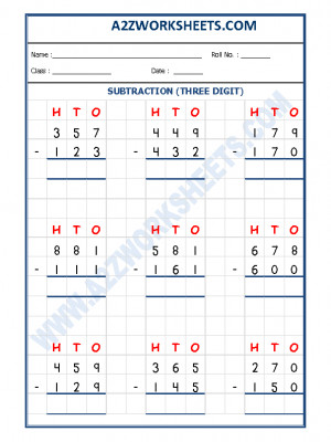 Subtraction Worksheet - 3 Digit Subtraction-05