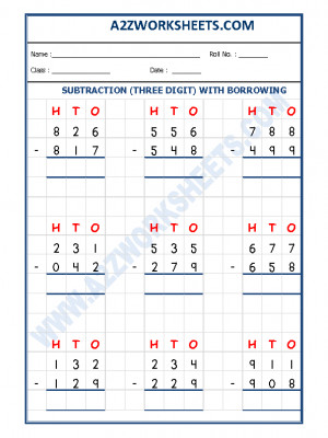 Subtraction Worksheet - 3 Digit Subtraction (With borrowing)