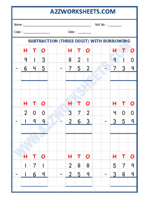 Subtraction Worksheet - 3 Digit Subtraction (With borrowing) - 02