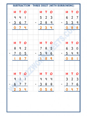 Subtraction Worksheet - 3 Digit Subtraction (With borrowing) - 03