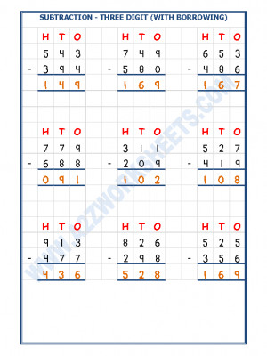 Subtraction Worksheet - 3 Digit Subtraction (With borrowing) - 05