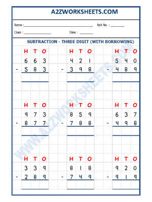 Subtraction Worksheet - 3 Digit Subtraction (With borrowing) - 06