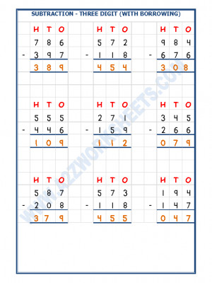 Subtraction Worksheet - 3 Digit Subtraction (With borrowing) - 07