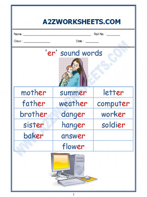 English Phonics Sounds - 'er' sound words