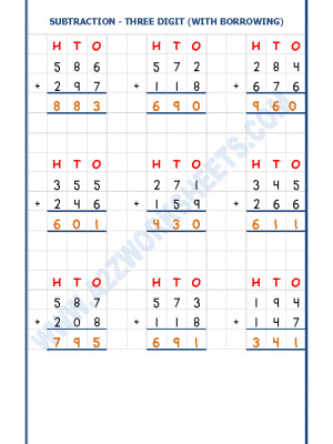 Addition Worksheet - 3 Digit Addition (With carryover)-01