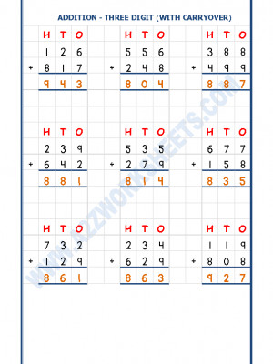 Addition Worksheet - 3 Digit Addition (With carryover)-02