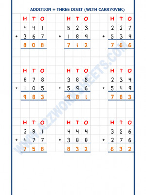 Addition Worksheet - 3 Digit Addition (With carryover)-03