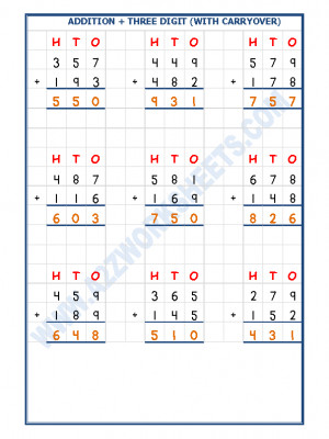 Addition Worksheet - 3 Digit Addition (With carryover)-04