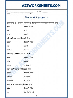 Punjabi Grammar - ling badlo (rules while changing the gender in Punjabi)