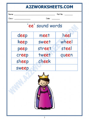 English Phonics Sounds - 'ee' sound words