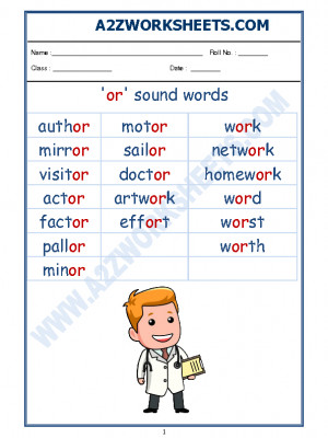 English Phonics Sounds - 'or' sound words