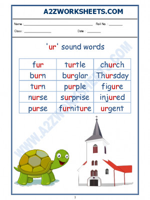 A2zworksheets Worksheet Of English Phonics Sounds Ur Sound Words Sound Words Reading English