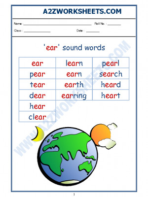 English Phonics Sounds - 'ear' sound words