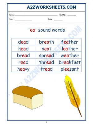 English Phonics Sounds - 'ea' sound words