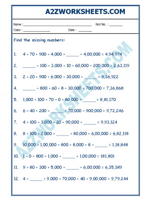 Maths Worksheet - Place Value-01