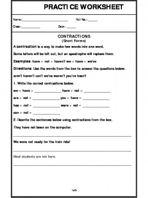 Contractions (Short Forms)