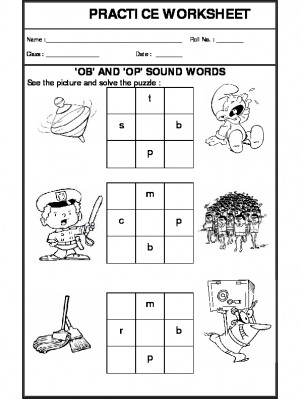 'ob' and 'op' sound words