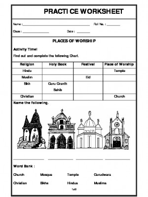 a2zworksheets worksheets of places of worship my home and places in our neighbourhood general. Black Bedroom Furniture Sets. Home Design Ideas