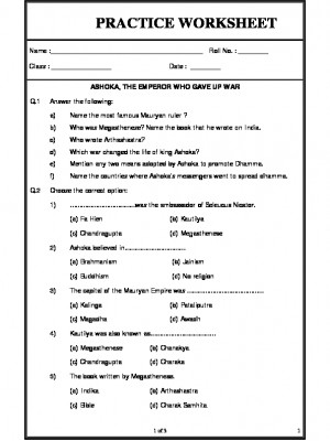 A2Zworksheets: Worksheets of Ashoka, The emperor who gave ...