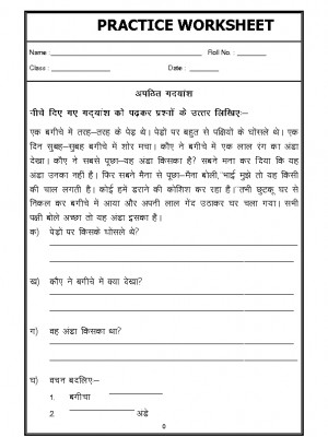 Hindi Worksheet - Unseen Passage in Hindi - 04