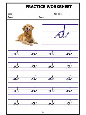 English Cursive Writing - Alphabet d