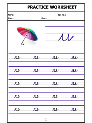 English Cursive Writing - Alphabet u