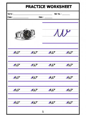 English Cursive Writing - Alphabet w