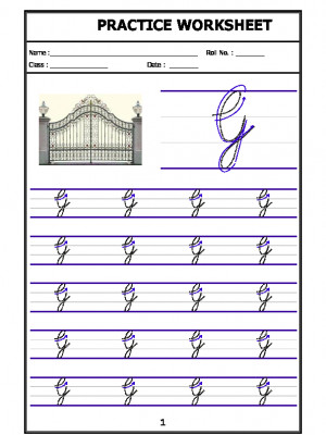 English Cursive Writing - Alphabet G (Capital Letter)