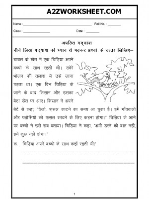 A2zworksheets Worksheets Of Unseen Passage Hindi Languageworkbook