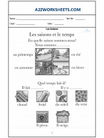Language French Worksheet - Les Saisons