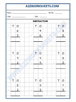 Maths Subtraction Worksheet - 01