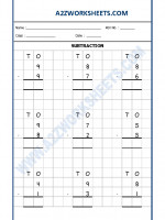 Maths Subtraction Worksheet - 02