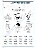 Language Hindi Worksheet - teen akshar shabd