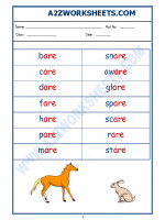 English English Phonics Sounds - 'are' sound words