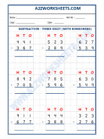 Maths Subtraction Worksheet - 3 Digit Subtraction (With borrowing) - 03