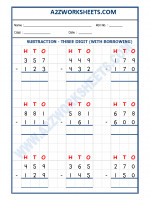 Maths Subtraction Worksheet - 3 Digit Subtraction (With borrowing) - 04