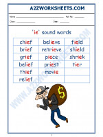 English English Phonics Sounds - 'ie' sound words