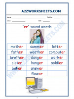 English English Phonics Sounds - 'er' sound words