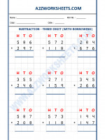 Maths Addition Worksheet - 3 Digit Addition (With carryover)-01