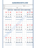 Maths Addition Worksheet - 3 Digit Addition (With carryover)-02